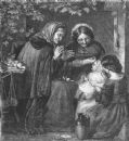 BABIES: Oh, bless its little heart!, antique print, 1861